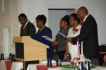 Ronald Brooks, Deborah Brooks(keynote speaker), Rita Gilbert, Cynthia Heath and Bobby Swindell lift every voice and sing
