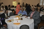 Family & Friends of honoree Steve Barber;  Rev. McNair(l), Woodie and Stevie Barber(R)