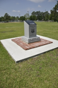 The monument surrounded by imprinted bricks.  Project funded by alumni and patrons of the former Belhaven High School